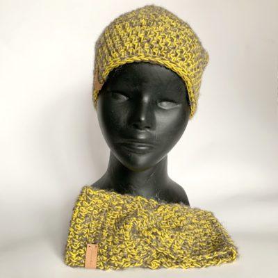 Czapka Żółto szara